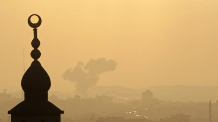 Smoke rises following what witnesses said was an Israeli air strike in Gaza