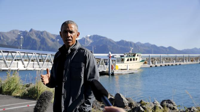 Obama delivers remarks before taking a boat tour of Kenai Fjords National Park in Seward, Alaska