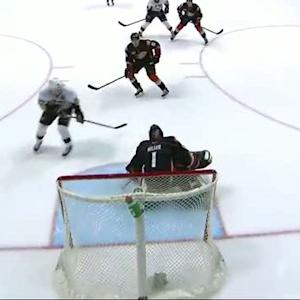 Hiller stuffs Crosby on the breakaway in OT