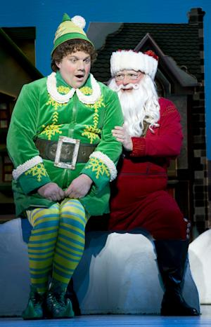 """This theater image released by The Hartman Group shows Jordan Gelber, left, and Wayne Knight during a performance of the musical """"Elf,"""" in New York. (AP Photo/The Hartman Group, Joan Marcus)"""