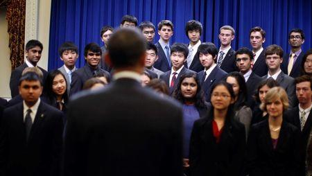 U.S. President Barack Obama is pictured with finalists of the Intel Science Talent Search in the Eisenhower Executive Office Building in Washington