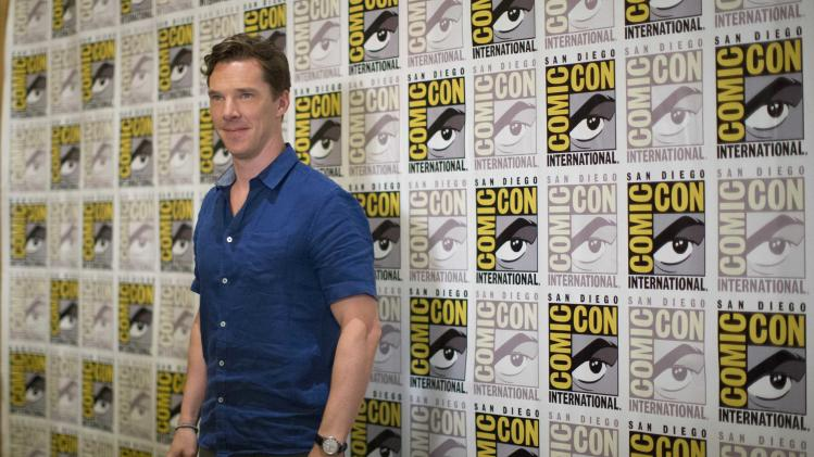"Actor Cumberbatch, who voices ""Classified"", poses at a press line for the movie ""Penguins of Madagascar"" during the 2014 Comic-Con International Convention in San Diego"