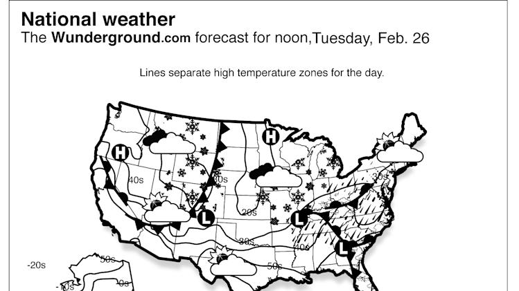 This is the Weather Underground forecast for Tuesday, Feb. 26, 2013 ...