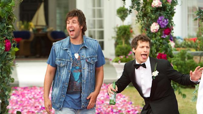 "FILE - This film image provided by Columbia Pictures shows Adam Sandler, left, and Andy Samberg in a scene from ""That's My Boy."" On Saturday, Feb. 23, 2013, at the 33rd Annual Razzie Awards, Sandler was named worst actor for ""That's My Boy,"" his second-straight win after 2011's ""Jack and Jill,"" which swept all 10 Razzie categories. (AP Photo/Columbia Pictures - Sony, Tracy Bennett, File)"