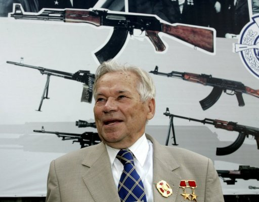 <p>Mikhail Kalashnikov at an event at a firearms factory in Izhevsk, Russia in 2007. The 93-year-old father of the AK-47 checked out of hospital on Saturday after spending nearly a week in an intensive care unit with swelling and general fatigue.</p>
