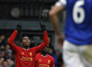 Liverpool's Sturridge scores a goal against Everton during their English Premier League soccer match at Goodison Park in Liverpool