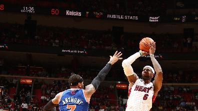 LeBron scores 38, Heat top Knicks 102-91
