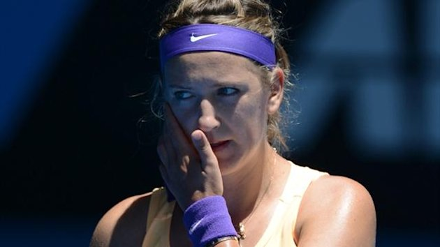 Victoria Azarenka during her match against Jamie Hampton of the US at the Australian Open (AFP)