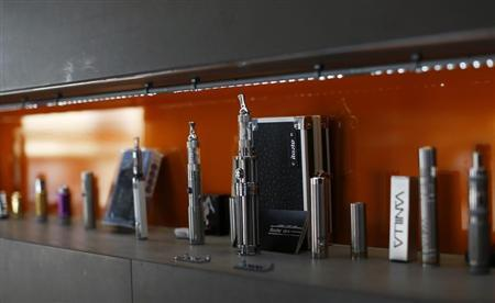 Electronic cigarettes are pictured on display at The Vapor Spot vapor bar in Los Angeles