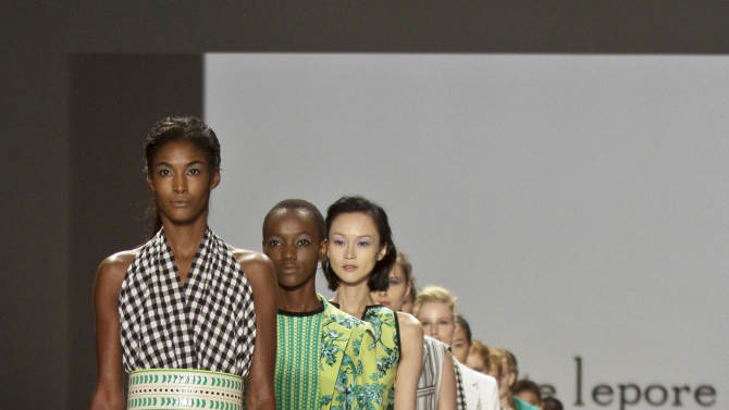 Fashion from the Spring 2013 collection of Nanette Lepore is modeled on Wednesday, Sept. 12, 2012 in New York.  (AP Photo/Bebeto Matthews)