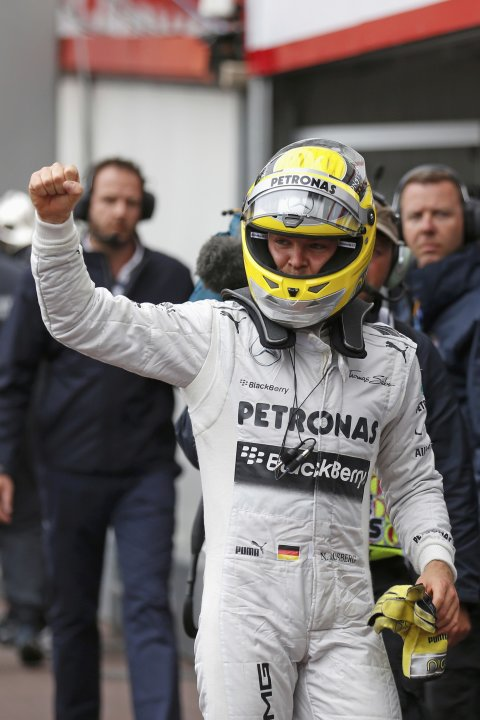 Mercedes Formula One driver Rosberg of Germany gestures as he celebrates his pole position after the qualifying session of the Monaco F1 Grand Prix