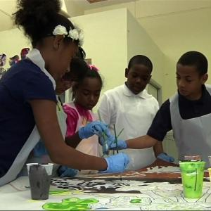 Children Begin Painting Mural for Pope's Visit