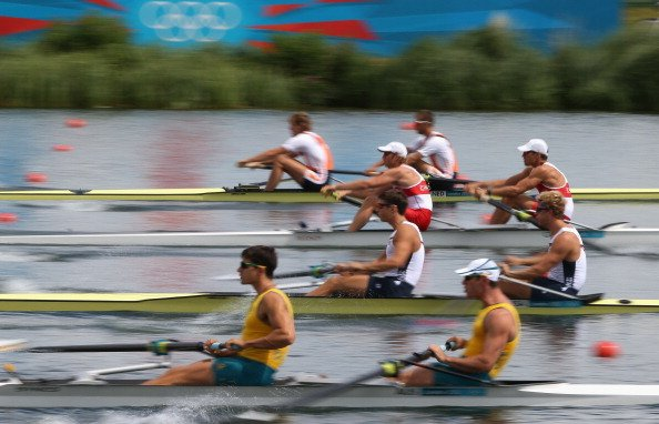 The Netherlands, United States, Australia and Canada compete in the Men's Pair Heat 2 on Day 1 of the London 2012 Olympic Games at Eton Dorney on July 28, 2012 in Windsor, England. (Photo by Streeter