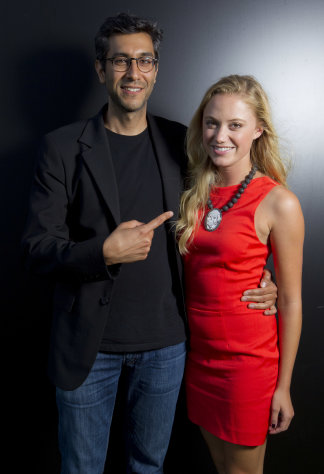 Director Ramin Bahrani and Maika Monroe pose for portraits to promote the film 'At Any Price' during the 69th edition of the Venice Film Festival in Venice, Italy, Friday, Aug. 31, 2012. (AP Photo/Joel Ryan)