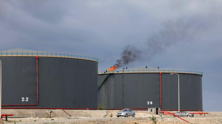 A view shows crude oil storage tanks at an oil refinery in Zawia