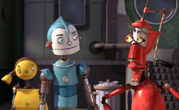 Piper Pinwheel (voiced by Amanda Bynes ), Rodney Copperbottom (voiced by Ewan McGregor ) and Fender (voiced by Robin Williams ) in 20th Century Fox's Robots