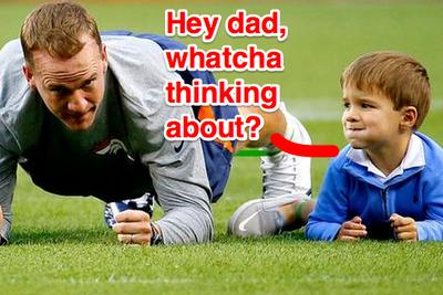 Peyton Manning's son warms up *exactly* like his dad <3 <3 <3