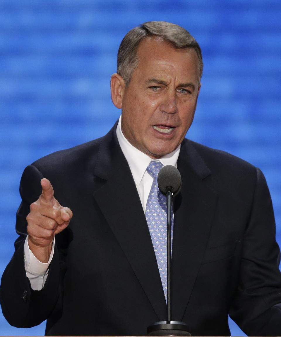 House Speaker John Boehner of Ohio addresses the Republican National Convention in Tampa, Fla., on Tuesday, Aug. 28, 2012. (AP Photo/J. Scott Applewhite)