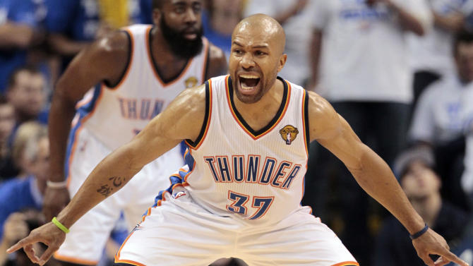 Oklahoma City Thunder point guard Derek Fisher (37) shouts during the first half at Game 2 of the NBA finals basketball series against the Miami Heat, Thursday, June 14, 2012, in Oklahoma City. (AP Photo/Jeff Roberson)