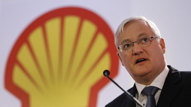 Peter Voser, Chief Executive Officer of Shell, speaks at the Royal Dutch Shell's full year results 2012 press conference, in London, Thursday, Jan. 31, 2013. (AP Photo/Kirsty Wigglesworth)