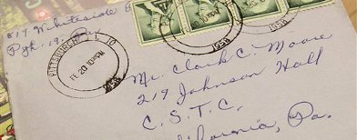 This Thursday, July 14, 2011 photo provided by California University of Pennsylvania shows a letter postmarked February 1958 that arrived at the campus mail room last week, in California, Pa. The long-lost love letter to a U.S. college student is on its way to him after a delay of more than 50 years. (AP Photo/California University of Pennsylvania)