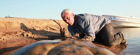 Jeremy Wade, host of the television show &#8220;River Monsters,&quot; hauled in this massive 280 pound stingray in Argentina after a four hour battle. (Photo: Daniel Huerta/Icon/ BNPS)