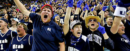 Utah State Aggies fans cheer on their team. (AP Photo/Colin E Braley)
