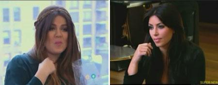 (L-R) Khloe Kardashian, Kim Kardashian (E!)