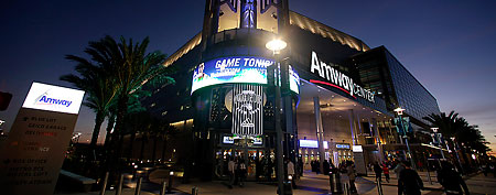 An exterior view of the Amway Center arena, home of the Orlando Magic, prior to an NBA basketball game against the Houston Rockets in Orlando, Fla., Friday, Jan. 7, 2011.(AP Photo/John Raoux)