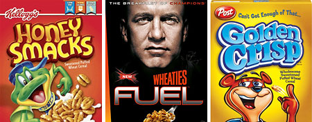 (L-R) Honey Smacks, General Mills Wheaties Fuel, Post Golden Crisp (Web)