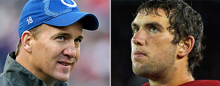 (L-R) Indy's Peyton Manning and Stanford's Andrew Luck (AP Photos)