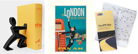 (L-R) James the Bookend (Daniel Black and Martin Blum), Vintage 2012 Wall Calendar (Amazon), The NPR Map  (NPR)