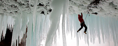 Climber Will Gadd (pictured) and his partner Tim Emmett recently became the first people to summit the 450-foot Helmcken Falls in Canada. With 20 foot long icicles and temperatures as low as minus 13 degrees Fahrenheit, the falls   are considered the world's most treacherous climb. (Christian Pondella / Caters News)