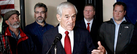 Republican presidential candidate, Rep. Ron Paul, R-Texas, speaks to small business owners in Concord, N.H., Tuesday, Nov. 22, 2011. (AP Photo/Winslow Townson)