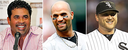(L-R) Ozzie Guillen, Albert Pujols and Mark Buehrle (Getty Images)