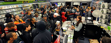 People lined up to buy Call of Duty Modern Warfare 3. (Photo by Ethan Miller/Getty Images)