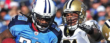 Tennessee Titans running back Chris Johnson (28) runs with the ball against the New Orleans Saints during the first half at LP Field. The Saints beat the Titans 22-17. (Don McPeak-US PRESSWIRE)