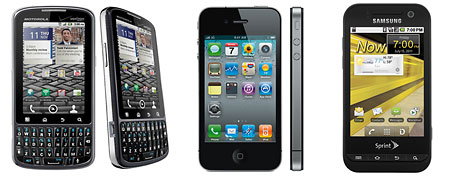 (L-R) Droid Pro (Motorola); iphone 4 (Apple); Conquer 4 (Samsung)