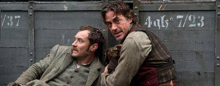 (L-R) Jude Law and Robert Downey Jr. in 'Sherlock Holmes: A Game of Shadows' (Warner Bros. Pictures)