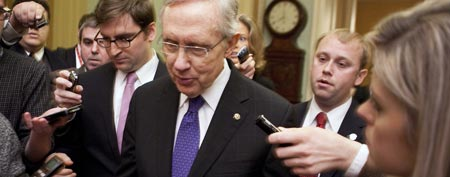 Senate Majority Leader Harry Reid (D-NV) speaks to reporters about an agreement on the payroll tax holiday on Capitol Hill in Washington on Dec. 16, 2011. (REUTERS/Joshua Roberts)