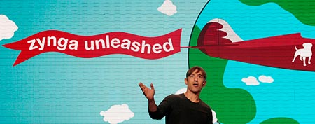 Zynga CEO Mark Pincus speaks at a Zynga event (AP)