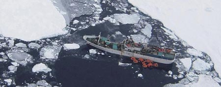 The Russian fishing vessel Sparta is seen in waters in the Ross Sea near Antarctica on Dec. 16, 2011. (AP Photo/Maritime New Zealand)