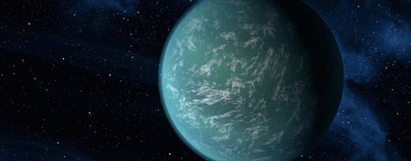 An artist rendering provided by NASA shows Kepler-22b. (AP Photo/NASA/Ames/JPL-Caltech)