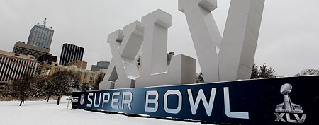 Super Bowl XLV sign. (Photo by Al Bello/Getty Images)