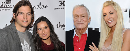 (L-R) Ashton Kutcher and Demi Moore ( Theo Wargo/WireImage); Hugh Hefner and Crystal Harris ( Angela Weiss/WireImage)