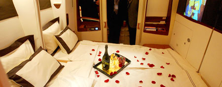 Singapore Airlines suite. (Courtesy of Roslan Rahman/AFP/Getty)