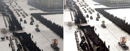 Two versions of a scene showing Kim Jong Il's funeral procession (via ABC News)