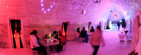 Tourists have dinner inside the Balea Lac Hotel of Ice in the Fagaras mountains, 300km (184 miles) northwest of Bucharest December 28, 2011. (Reuters/Radu Sigheti)