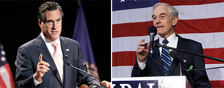 Left, Mitt Romney. (AP Photo/Mary Schwalm); Rep. Ron Paul. (AP Photo/Charles Dharapak)