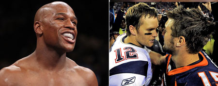(L-R) Floyd Mayweather Jr., (Photo by Al Bello/Getty Images)  and Tom Brady exchanges words with Tim Tebow. (AP Photo/Jack Dempsey)